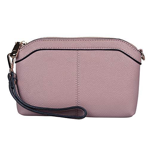 Diter Womens Leather Wristlet Zipper Clutch Wallet, Crossbody Bag Purse (Pink)
