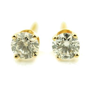 f77815349 Amazon.com: 1.00ct Diamond Stud Earrings 14K Yellow Gold Single Diamond 5mm  Wide Push Back: Jewelry