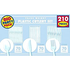 Big Party Pack Window Box Cutlery Set | Clear | 210 ct. | Party Supply