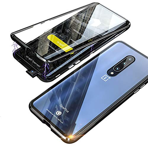 (Compatible OnePlus 7 pro Case, HONTECH Slim Magnetic Adsorption Front & Back Clear Tempered Glass Magnet Metal Frame Flip Cover with Built-in Screen Protector for OnePlus 7pro (Black))