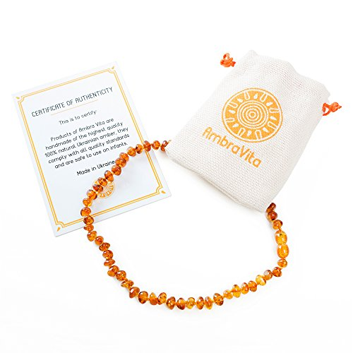 Amber Teething Necklace – Polished Teething Necklace for Babies Unisex (Honey) – Anti-inflammatory, Swollen Gums & Teething Pain Reduce Properties – Certificated Natural Ukrainian Amber Beads by AmbraVita