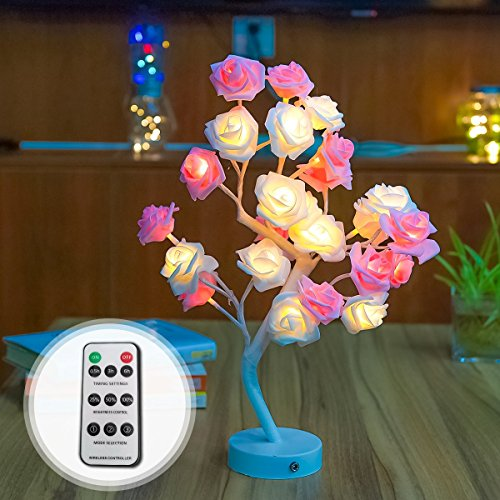 WED Rose Flower LED Tree Lights with Remote Control, 17.7 inch Rose Table Lamp Home Decoration Lights with 24 LEDs for Home/Christmas/Party/Wedding/Valentine's Day (White)