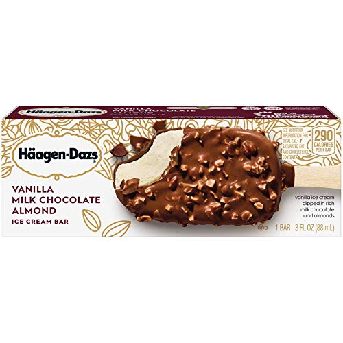 Haagen Dazs, Vanilla with Almonds Ice Cream Bar, 3.67 Oz. (12 Count)