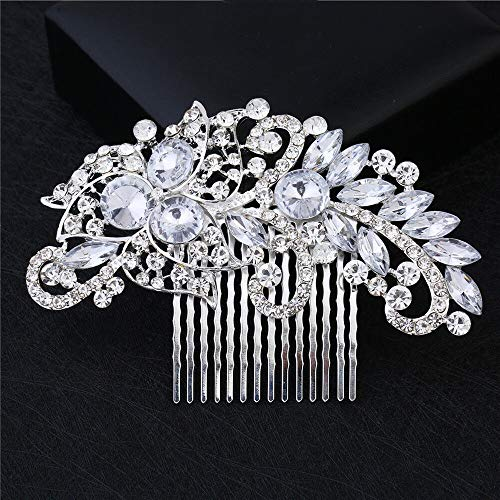 Silver Rhinestone Flower Pearls Hair Clip Pins Comb Bride Wedding Party Fashion (Color - 7#)