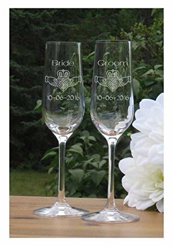 Claddagh Champagne Flutes - Lead Free Crystal 7 oz Wedding Glasses by Glass Island Designs