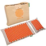 Back Massager Mat Pillow Set: Back and Neck Pain Acupressure Mats, Reflexology, Eco Natural Organic, New Product Limited Time Price (Reg. $60) Help Sciatica, Triggers Point Acupuncture (Orange Spike)