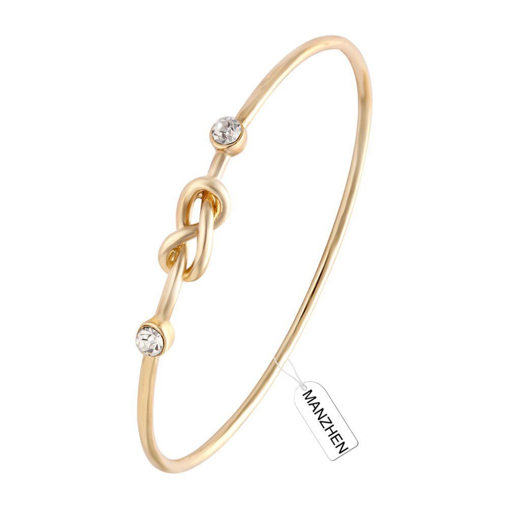 MANZHEN 3 Colors Crystal Love Salor's Knot Bracelet Bangle Infinity Bangle Bracelet for Women SF-BG1719C