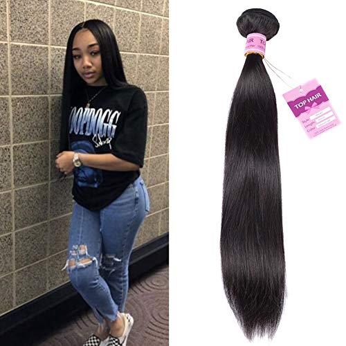 Top Hair Peruvian Virgin Straight Human Hair Weave one Bundle Peruvian Silky Straight Hair Weft Black Natural Color(100g 24inch)