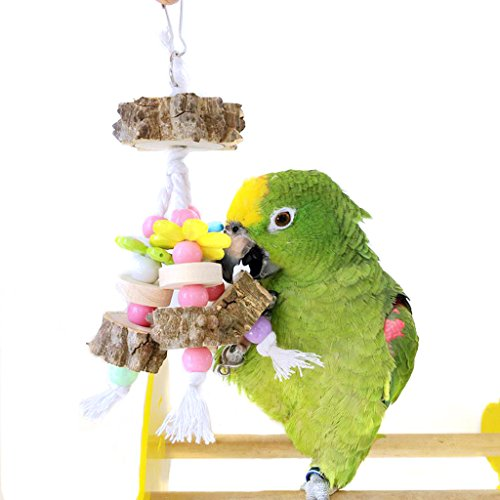 Bwogue Nature Wooden Bird Toy for Parakeet Parrots Cages ...