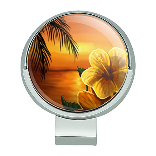 GRAPHICS & MORE Beach Sunset Hibiscus Flower Hawaiian Golf Hat Clip with Magnetic Ball Marker