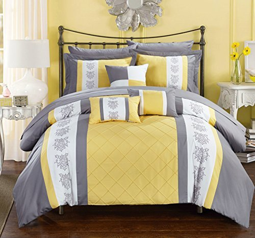 Chic Home Clayton 10 Piece Comforter Set Pintuck Pieced Block Embroidery Bed in a Bag with Sheet Set, Queen Grey Yellow (Gray Yellow Bedding Blue)