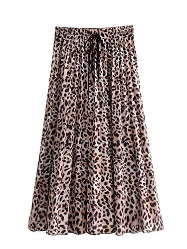 SheIn Women's Leopard Print Drawstring Pleated A-Line Midi Long Skirts
