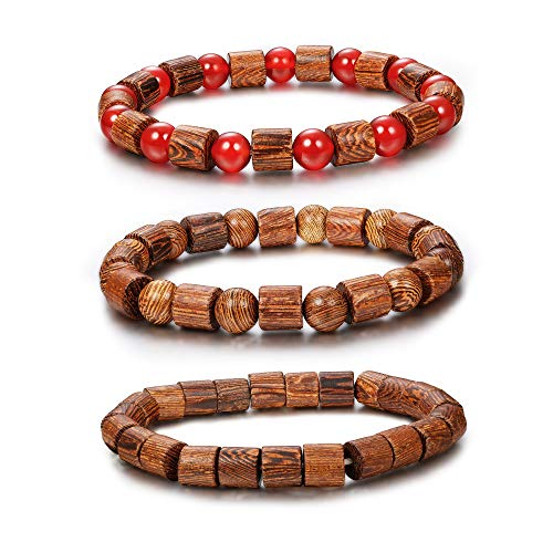 FIBO STEEL 3Pcs 8mm Wood Beaded Bracelet for Men Buddha Bracelet Elastic (E:3 Pcs a Set)