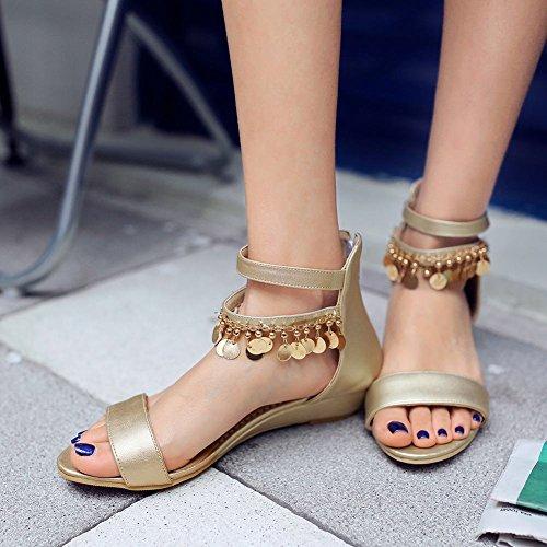 separation shoes d7cd7 ce5d9 ... Carolbar Womens Zip Kedjor Öppen Tå Mode Ankel-rem Elegans Låg Klack  Klänning Sandaler Guld