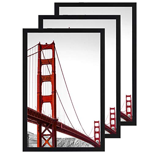 11x17 Frame Black 3 Pack, Solid Wood Picture Frame with Plexiglass, Poster Frame 11x17 (Frames 11x17 Wood Picture)