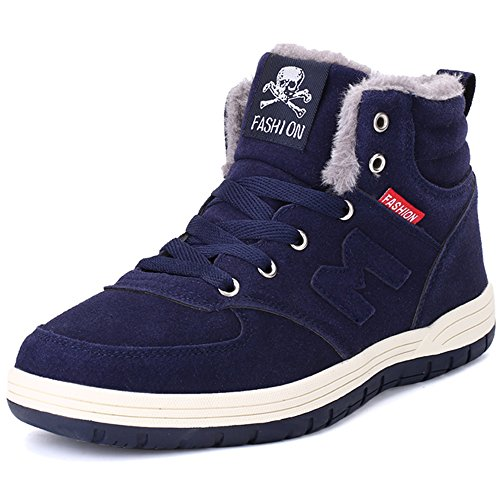 VILOCY Men's Winter Fur Warm Lining Lace Up Suede Leather Snow Boots Work Ankle Sneakers (11, Dark Blue)