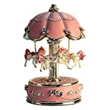 LIWUYOU Luxury Large Size Color Change LED Light Luminous Rotating Carousel Horse Musical Box With Music of Castle in the Sky Color Pink