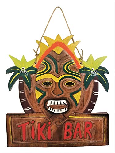 "NEW 12"" x 10.5"" VIBRANT PAINTED HANDCARVED WOOD ""TIKI BAR"" SIGN WITH PALM TREES!"