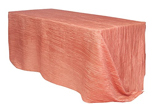 Your Chair Covers - 90 x 132 inch Rectangular Crinkle Taffeta Tablecloth Coral, Rectangle Table Linens for 6 ft Rectangular Tables, Wedding Crushed Table Cloth]()