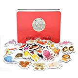 dishwasher magnet farm - Gamenote Magnetic Animals for Kids,Refrigerator Magnets Animals Education Set with Marine Animals, Farms,Dinosaurs and Zoo Animals Toddlers Magnetism Learning Toys (40 pcs in Iron Box) (Colorful)