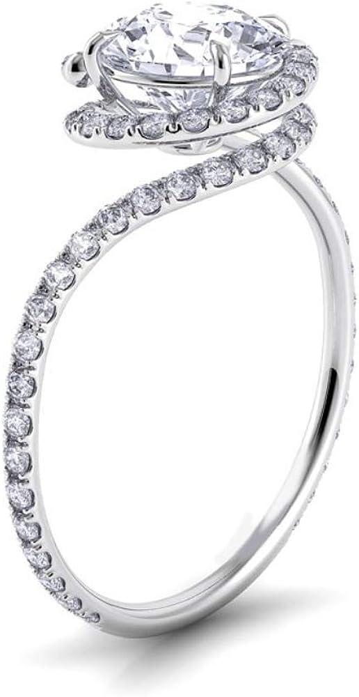 Award Winning Diamond Simulant & Sterling Silver Eternity Engagement Ring