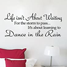 Soledi® New Dance in the Rain Quote Wall Decal Motto DIY Art Wall Decor Vinyl Wall Stickers Removable Transfer Wall Mural Home Bedroom Wall Decorations Hot DIY