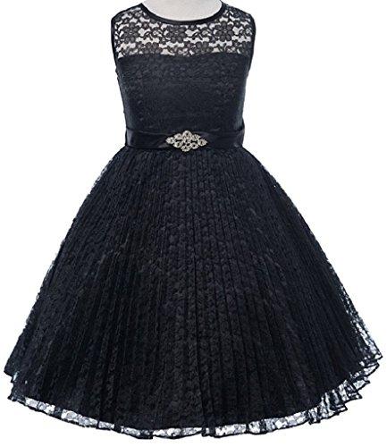 Black Illusion Flower - Big Girls' Pleated Lace Illusion Top Sunburst Skirt Flowers Girls Dresses Black Size 14