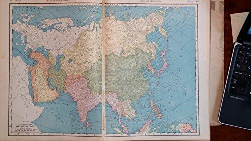 1903 Map of Asia Original Collectible Vintage Antique Historical Atlas Split Page ()