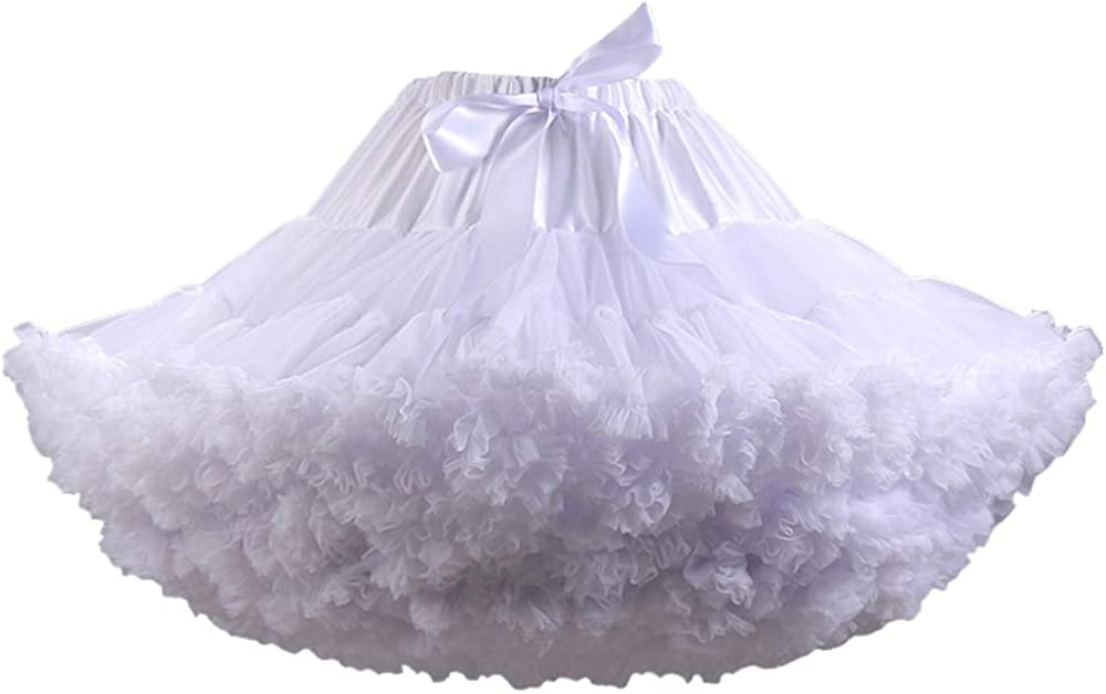 Women's Petticoats Puffy Tutu Skirts Elastic Waist Multi-Layer Tulle Skirt