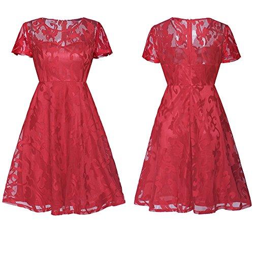 Casual Dresses DEELI Red Summer Sleeve Women Short KAKA Lace zCEwqv1