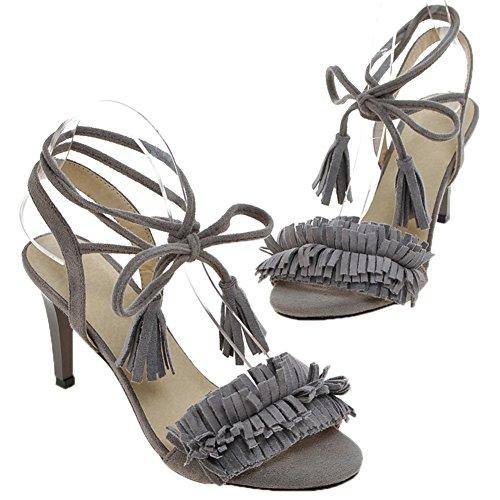 HooH Mujer Gamuza Peep Toe Lace up Zapatos de tacón talón abierto Flecos Sandalias Suela Roja Gris