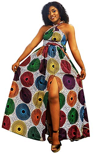 Shenbolen Women African Print Maxi Dress Dashiki Long Dress(C,Small-Large) (Print African Dress)
