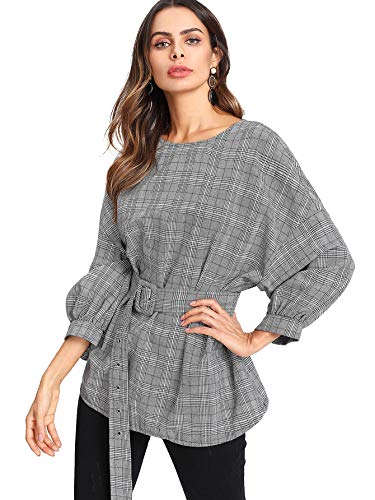 Belted Cotton Puff Sleeve Blouse - Romwe Women's Elegant Plaid Round Neck Lantern Sleeve Loose Blouse Top Shirt with Belt Grey M