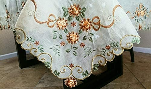 tokoag3 Embroidery 72x108 Organza Handmade Daisy Thanksgiving Tablecloth AG3 ()