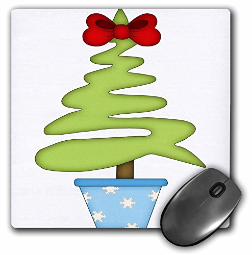 3dRose Anne Marie Baugh - Christmas - Cute Contemporary Christmas Tree with Bow Topper Illustration - Mousepad (mp_217108_1) ()