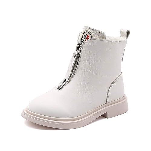 Botas de Invierno para niños Martin con Cremallera Lateral para niñas Negro Blanco Tacón bajo Mantener cálidos más Botines de Felpa Botas para niños de ...