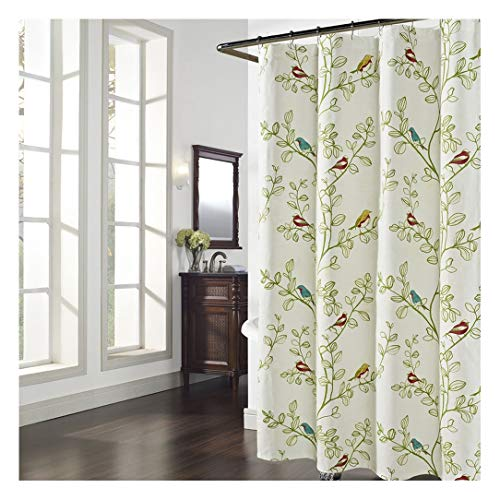 DS BATH Maria Green Leaves Shower Curtain,Flower Polyester Fabric Shower Curtain,Plants Shower Curtains for Bathroom,Floral Bathroom Curtains,Print Waterproof Shower Curtain,72