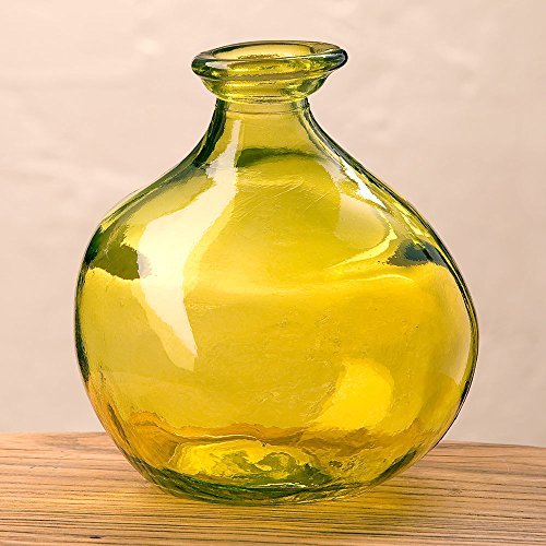 Citron Green Bubble Recycled Glass Balloon Vase, 7'' by Vivaterra
