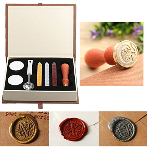 Wax Seal Stamp Kit,Mingting Vintage Wax Stamp Seal Kit Initial Letters Alphabet (C)