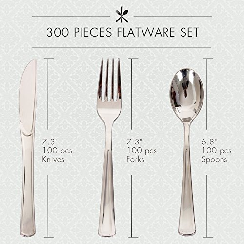 300 Pieces Disposable Silverware Set, Wedding Decorations Plastic Cutlery Set – 100 Forks, 100 Spoons, 100 Knives, Heavyweight Plastic Cutleries –– Ideal for Parties, Picnics, Restaurants
