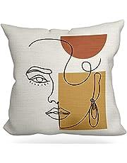غطاء وسادة LUOFISH الحد الأدنى فن تجريدي الفن غطاء وسادة ناعم ، غطاء وسادة من الكتان القطن للسرير أريكة غرفة النوم ، ديكور المنزل غطاء وسادة 18 × 18 بوصة