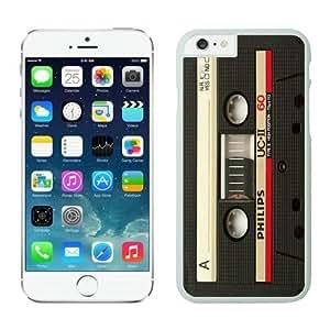 Iphone 6 Plus Case 5.5 Inches, Retro Audio Cassette Popular Design White Hard Back Cover Case for Apple Iphone 6 Plus