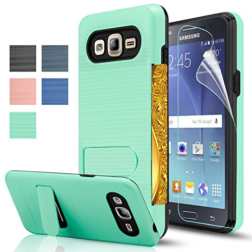Belt Clip Oem Cellular Accessory (Galaxy J5 Case With HD Screen Protector((J500/Not Fit J510 2016)AnoKe[Credit Card Slots Holder][Not Wallet]Kickstand Plastic TPU Hybrid Shockproof Heavy Duty For Samsung Galaxy J5 J500 KC1 Mint)