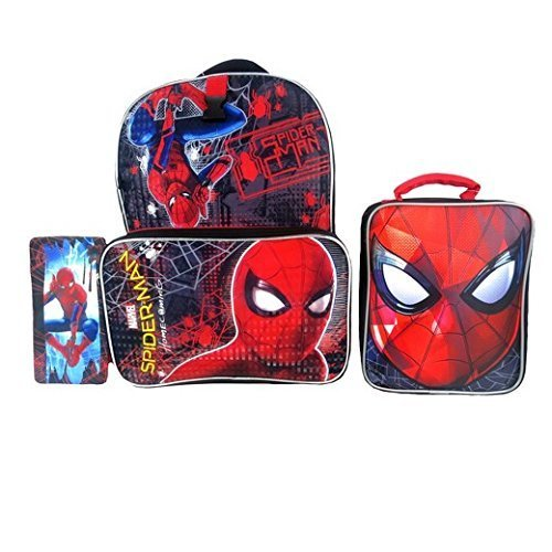 Marvel Spiderman School Supplies Set -- Spiderman Backpack, Lunch Kit and Pencil Case -