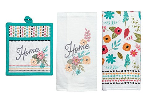 Floral Themed Kitchen Linens Set: Bundle Includes (1) Pocket Oven Mitt and (2) Kitchen Towels in a Modern Floral Home Comfort Design by Kay Dee