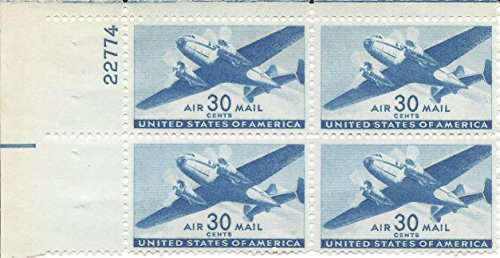 C30 Air (1941 US Air Mail Postage Stamp 30 Cent Plate Block MNH Scott #C30)