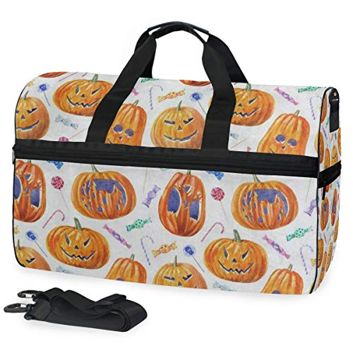 Travel Tote Luggage Weekender Duffle Bag, Halloween Pumpkin Lollipop Candy Large Canvas shoulder bag with Shoe Compartment