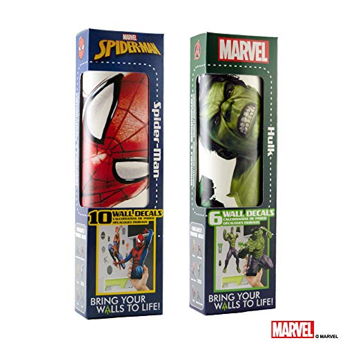 Marvel Spider-Man & Hulk Vinyl Stickers Augmented Reality Stickers for Kids Rooms -Kids Wall Decals for Bedroom are Easy to Put Up On Wall and Peel Off - Best Bedroom Décor Birthday Gift