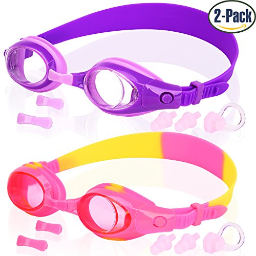 Kids Swim Goggles, Pack of 2, Swimming Glasses for Children and Early Teens from 3 to 15 Years Old, Anti-Fog, Waterproof, UV Protection, Made by COOLOO Purple Kids Goggles