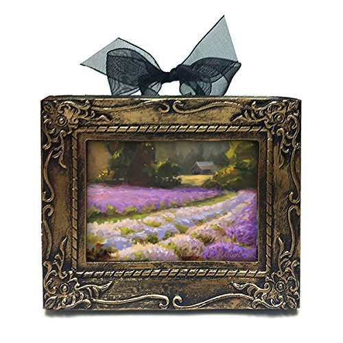 Lavender Field Landscape Home Decor Wall Art Print Ornament - Purple Flower Farm Painting Small Stocking Stuffer Gift For (Ribbon Small Poster)